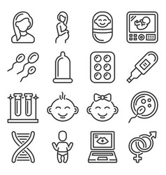 pregnancy and baplaning icons set vector image