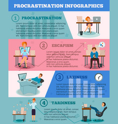 procrastination infographic cartoon characters vector image