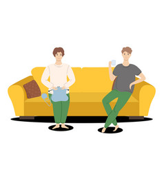 relaxing at sofa family spend time together vector image