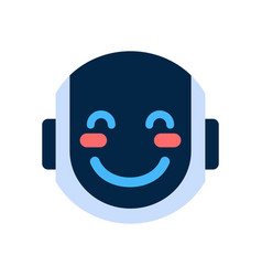 Robot face icon smiling blushed face emotion vector