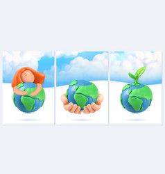 save planet nature and ecology background 3d vector image