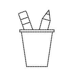 school plastic cup with pencil pen supplies vector image