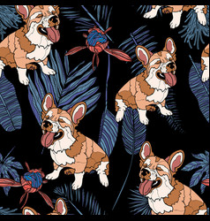 seamless pattern with dog and leaves vector image
