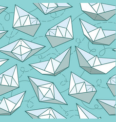 seamless pattern with paper ships vector image