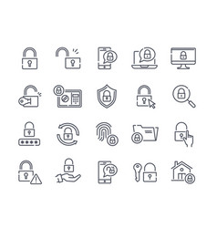 set of black and white lock icons vector image
