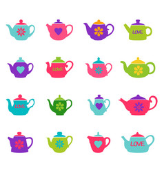 set of color teapots vector image