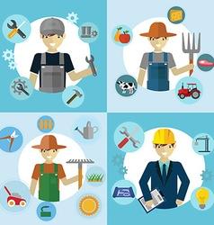 Set of workers Mechanic Gardener Construction vector image