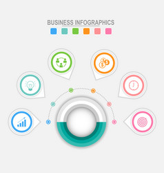 Six options infographic around big circle vector