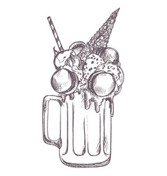 sketch of milkshake vector image