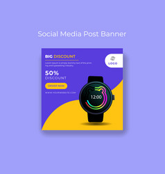 Smart watch sport sale for social post template vector