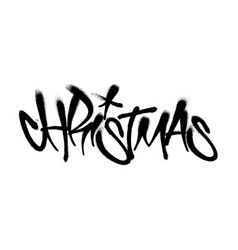 Sprayed christmas tag graffiti with overspray in vector