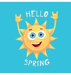 Sun hand rock n roll icon Spring vector