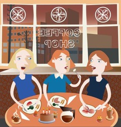 Three friends in the coffee shop vector
