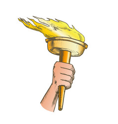Torch hand hold olympic burning stick color vector