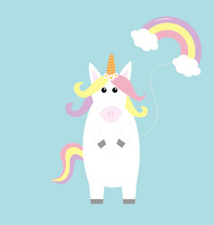 unicorn holding rainbow cloud baloon kawaii face vector image