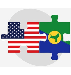 Usa and christmas island flags in puzzle vector