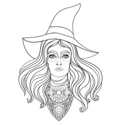 Wiccan witch in black vector