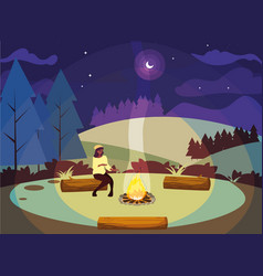 Woman camping bonfire forest mountains night vector