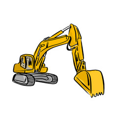 Yellow front hoe loader excavator vector