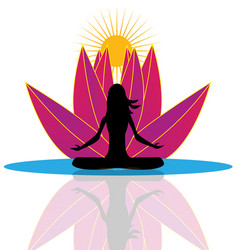Yoga reflection and pink lotus flower logo vector