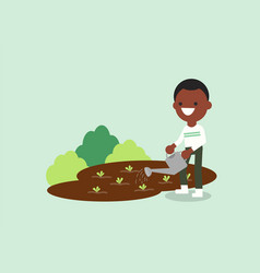 Young african american man watering plant vector