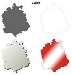 Zurich blank detailed outline map set vector