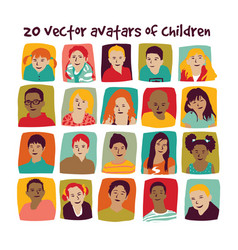 children avatars group set vector image vector image