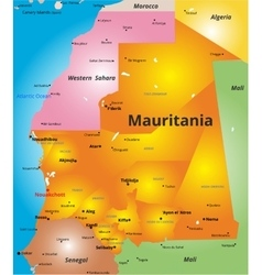 color map of Mauritania country vector image
