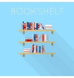 Flat-style design of three bookshelfs with books vector