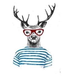 Hand drawn dressed up deer vector
