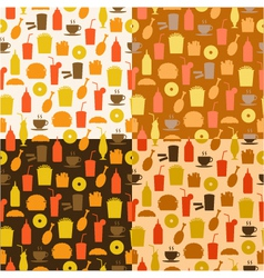 set of seamless pattern of fast food icons vector image