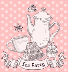 Vintage sweets and tea - tea party banner vector image vector image