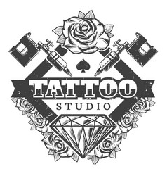 vintage tattoo salon logotype template vector image vector image