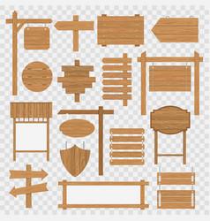 wooden blank signboards vector image vector image