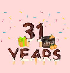 31 years birthday design for greeting cards vector image vector image