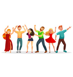 happy people dancing in various poses flat vector image