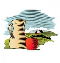 woodcut fruit juice vector image vector image