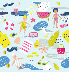 childish summer beach vacation seamless pattern vector image