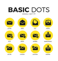 email flat icons set vector image