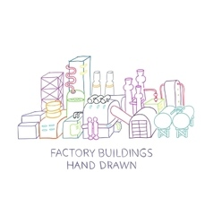 Factory buildings hand drawn sketched vector image