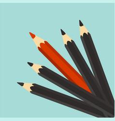 leadership concept red unique different pencil vector image