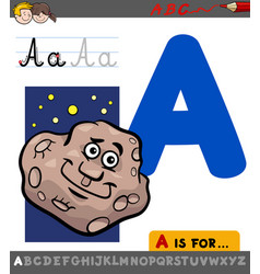 Letter a with cartoon asteroid vector