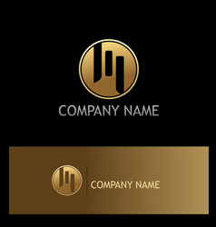 round line letter m gold logo vector image vector image