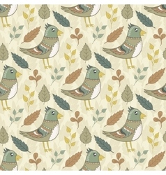 seamless pattern with birds and leaves vector image vector image