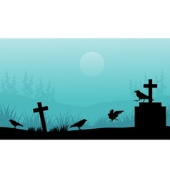 Silhouette of crow and tomb Halloween with fog vector image