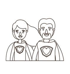 Sketch contour caricature half body couple super vector