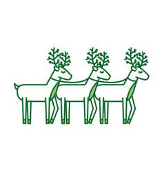 christmas three reindeer animal horned funny vector image
