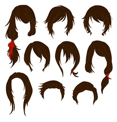 Hair styling for woman drawing Brown Set 1 vector image vector image