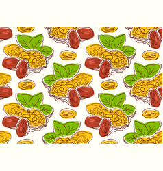 seamless pattern with the image of a peanut vector image vector image