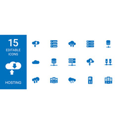 15 hosting icons vector
